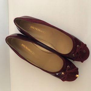 New BrunoMagli Burgundy Low Block Heels